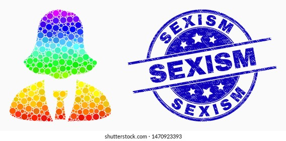 Pixelated spectrum business woman mosaic pictogram and Sexism seal. Blue vector round distress seal stamp with Sexism caption. Vector composition in flat style.