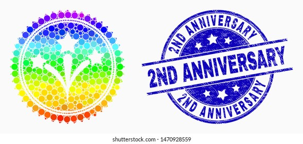 Pixelated spectrum fireworks seal stamp mosaic pictogram and 2Nd Anniversary seal stamp. Blue vector rounded distress seal stamp with 2Nd Anniversary phrase. Vector collage in flat style.