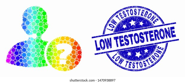 Pixelated spectrum operator information mosaic icon and Low Testosterone stamp. Blue vector rounded distress seal stamp with Low Testosterone caption. Vector composition in flat style.