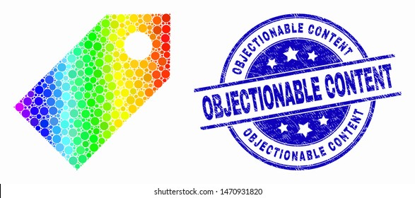 Pixelated spectrum tag mosaic icon and Objectionable Content stamp. Blue vector round distress seal stamp with Objectionable Content title. Vector collage in flat style.