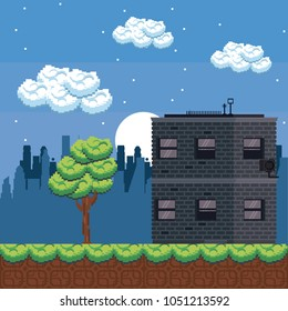 Pixelated urban videogame scenery