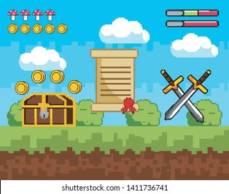 pixelated videogame scene with coffer and coins