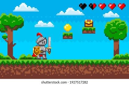 Le personnage courageux du chevalier de jeu de pixels. Paysage naturel délimité avec un guerrier tenant un bouclier et une épée debout dans un pré vert près des plateformes avec des pièces de monnaie. Personne au pixel invisible à utiliser dans un jeu
