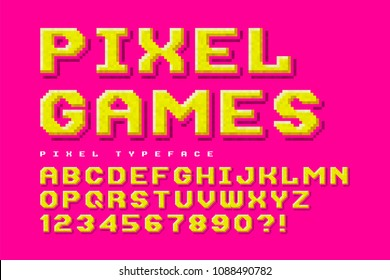 Pixel-look vector font design, stylized like in 8-bit games. High contrast, retro-futuristic, game over sign. Easy swatch color control.