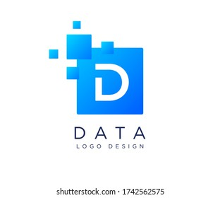 pixels letter D logo. D letter logo design vector with pixels