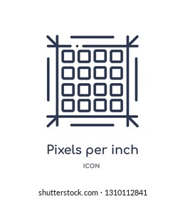 pixels per inch icon from technology outline collection. Thin line pixels per inch icon isolated on white background.