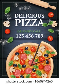 Pizza ads poster. Sliced delicious tasty traditional italian food with vegetables and meal vector realistic placard