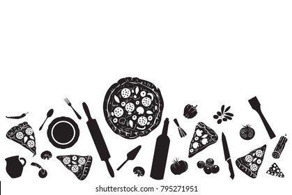 Pizza  Background. Hand Drawn Pattern. Vector Illustration.