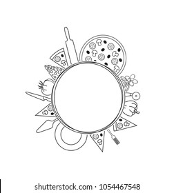 Pizza Background for Menu, Cards, Blogs, Banners. Hand Drawn Pizzeria Template for your text inside.  Circle Frame with ingredients and utensils for design works. Vector illustration.