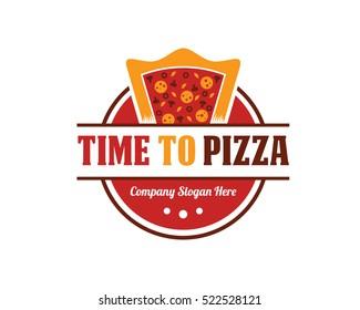 Pizza Badge Emblem Logo Design Template