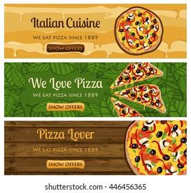 PIZZA banners set design for Italian fast food restaurant in vector format
