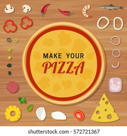 Pizza base with ingredients on wooden table. Make your pizza.