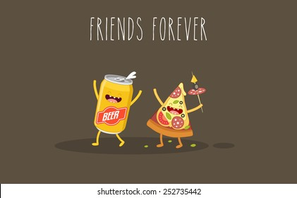 Pizza and beer. Fastfood. Vector cartoon. Friends forever. ?omic characters.