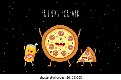 Pizza and beer. Fastfood. Vector cartoon. Friends forever. Comic characters.