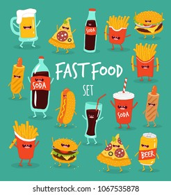 Pizza, beer, french fries, cola, hamburger, hot dog, sausage, funny fast food set. Vector illustration. Use for card, poster, banner, web design and print on t-shirt. Easy to edit.