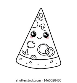 Pizza with big cute eyes and pink cheeks. Cute kawaii cartoon fast food. Doodle character on white background. Vector line illustration for kids design, colorings.