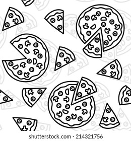 Pizza black and white seamless pattern (vector illustration)