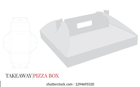 Pizza Box with Handle Template, Vector with die cut / laser cut layers. Cardboard Self Lock Delivery Box. White, blank, clear, isolated mock up on white background, perspective view. Packaging design
