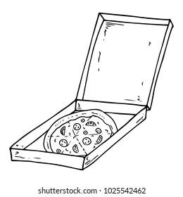 Pizza box icon. Vector illustration of pizza in box. Hand drawn pizza. Open box with delicious pizza.