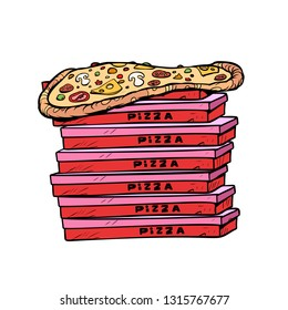 pizza box a lot isolate on white background. Pop art retro vector illustration vintage kitsch