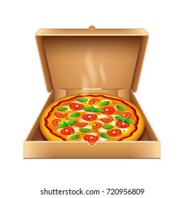 Pizza in box isolated on white photo-realistic vector illustration