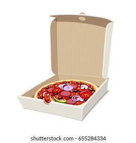 Pizza in box. Italian traditional food. Isolated white background. Vector illustration.