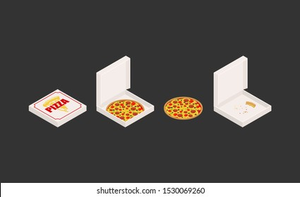 Pizza and box set. Closed and open box. Fast food Vector illustration