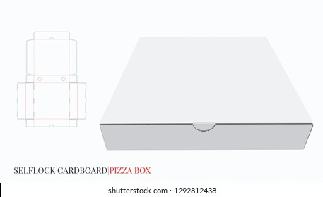 Pizza Box Template, Vector with die cut / laser cut lines. Cardboard Self Lock Delivery Box. White, blank, clear, isolated Pizza Box mock up on white background, perspective view, 3D, Packaging design