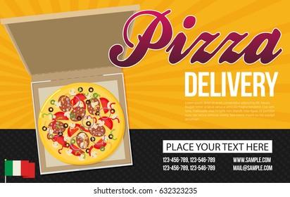 Pizza box vector advertisement banner. Pizza box delivery service.
