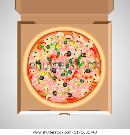 Pizza Box Vector Illustration Eps 10 Stock Vector Royalty Free