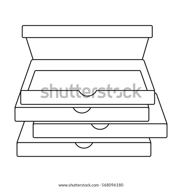 Pizza boxes icon in outline style isolated on white background. Pizza and pizzeria symbol stock vector illustration.