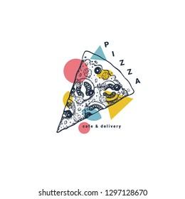 Pizza cafe design template. Pizza ingredients frame composition. Vector illustration