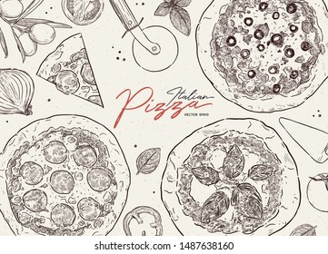 Pizza cafe design template. Pizza ingredients composition. Vector illustration