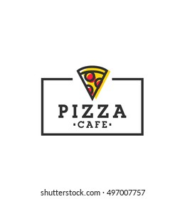 Pizza cafe. Pizza logo, emblem, label