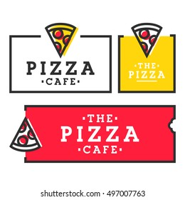 Pizza cafe. Set pizza logo, emblem, label