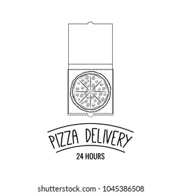 Pizza in cardboard box with text Pizza delivery. Pizzeria labels, badges and design elements. Vector illustration.