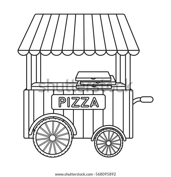 Pizza cart icon in outline style isolated on white background. Pizza and pizzeria symbol stock vector illustration.