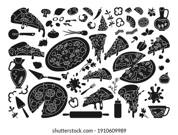 Pizza cartoon black glyph set. Italian hand drawn pizzas with greens, pepper, tomato, olive cheese. Margarita and hawaiian, pepperoni or seafood mexican. Pizza pieces and ingredients vector collection