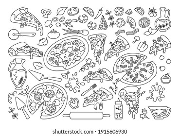 Pizza cartoon black line set. Italian hand drawn pizzas with greens, pepper, tomato, olive cheese. Margarita and hawaiian, pepperoni or seafood, mexican. Pizza pieces and ingredients vector collection