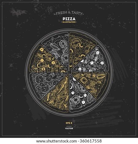 Pizza Chalkboard Design Template Vector Illustration