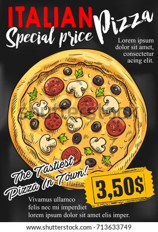 pizza chalkboard poster template italian pizza stock vector royalty