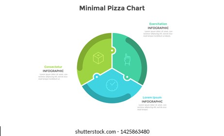 Pizza chart divided into 3 colorful jigsaw puzzle pieces or sectors. Concept of three parts of startup project. Simple infographic design template. Flat vector illustration for business analytics.