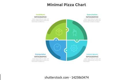 Pizza chart divided into 4 colorful jigsaw puzzle pieces or sectors. Concept of four parts of startup project. Simple infographic design template. Flat vector illustration for business analytics.