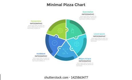 Pizza chart divided into 5 colorful jigsaw puzzle pieces or sectors. Concept of five parts of startup project. Simple infographic design template. Flat vector illustration for business analytics.