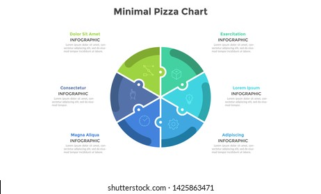 Pizza chart divided into 6 colorful jigsaw puzzle pieces or sectors. Concept of six parts of startup project. Simple infographic design template. Flat vector illustration for business analytics.