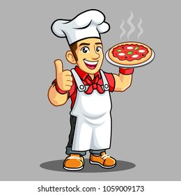 Pizza Chef with Pizza on his hand.