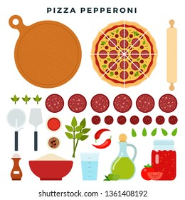 Pizza with classic italian sausages pepperoni and all ingredients for cooking it. Make your pizza. Set of products and tools for pizza making. Everything for dough, filling and sauce. Vector.