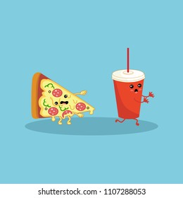 Pizza and Cola paper cup. Zombie Pizza pursue a running Cola paper cup. Character with eyes and a wide smile isolated on blue background. Fastfood. Vector cartoon.
