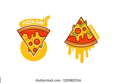 Pizza day logotype, line art flat vector cartoon illustration, emblem isolated on white background, two version of logotype