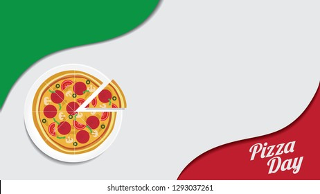 Pizza Day poster, banner template, vector illustration of pizza on a plate with italian flag color background